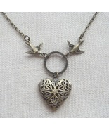 Handmade  FILLIGREE HEART LOCKET PENDANT & SWAL... - $12.99