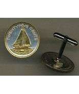 "Bahamas 25 cent ""Sail boat"" 2 Toned Gold on Silver, coin cufflinks - $85.00"