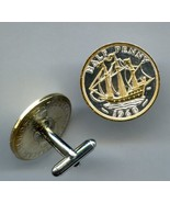 "British ½ penny ""Sailing ship"" 2 Toned Gold on Silver Coin Cufflinks - $116.00"