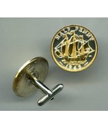 "British ½ penny ""Sailing ship"", 2 Toned Gold on Silver Coin Cufflinks - $96.00"