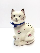 Vintage Chintz Cat Pomander Hatpin Holder Levine Art Pottery Circa 1986 - $9.75