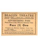 Beacon Theatre vintage pass ticket Boston MA - $4.50