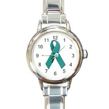 Ladies Round Italian Charm Watch Ovarian Cancer Awareness Ribbon model 1... - $11.52