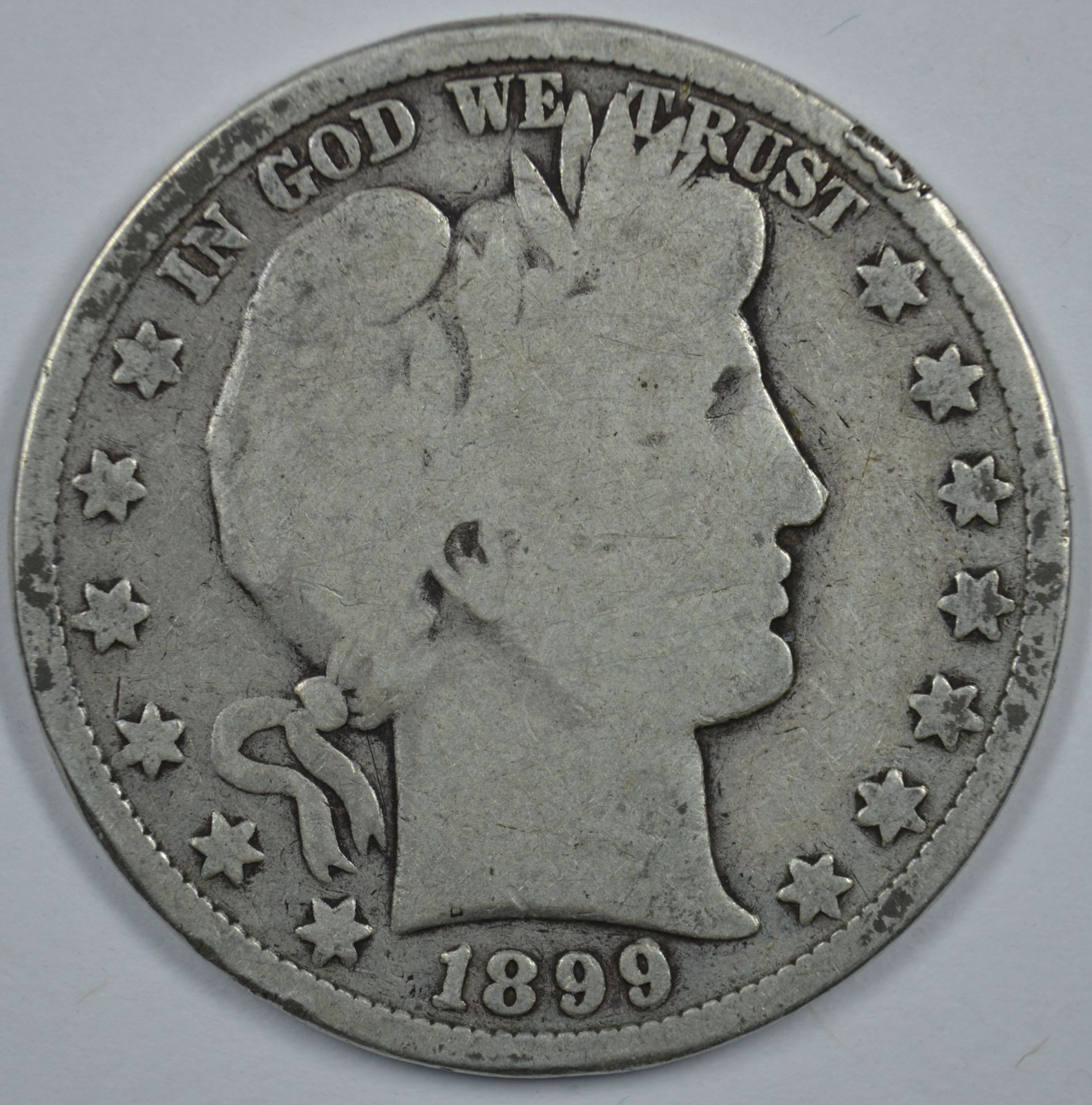 Primary image for 1899 P Barber circulated silver half