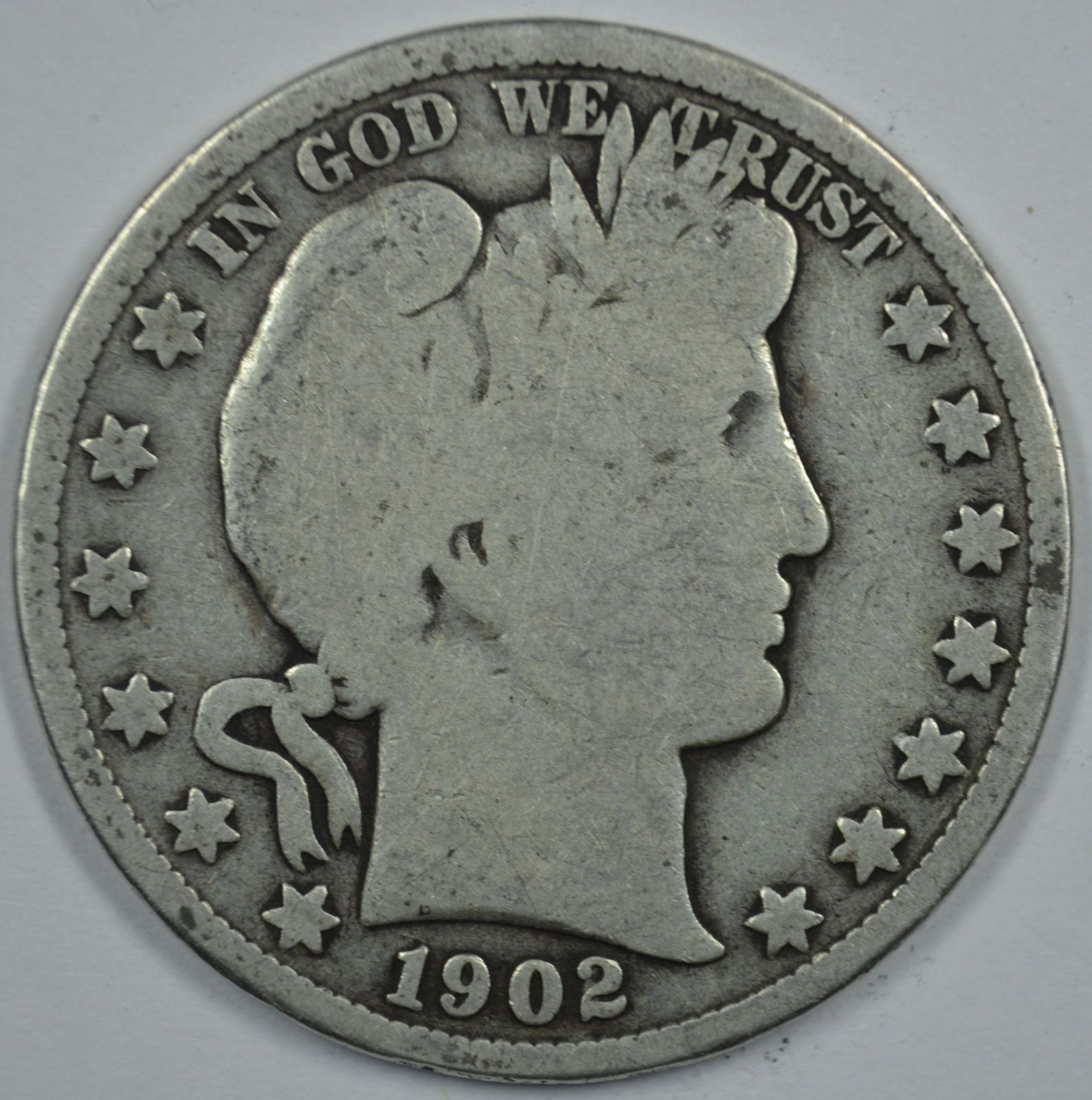 Primary image for 1902 P Barber circulated silver half