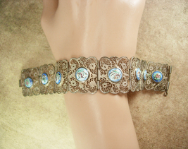 Vintage Persian Enamel Bracelet story telling bracelet with ornate silver  - $145.00