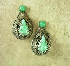 Sterling Peking Glass earrings Vintage Deco ornate clip on hallmarked silver  - $155.00