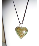 Green & Gold Glitter Blown Glass Dichroic Heart Pendant On Black Satin Cord - $7.99
