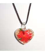 Red Blossoming Flower Heart Blown Glass Pendant On Black Satin Cord - $7.99