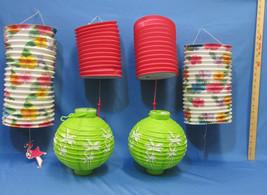 6 Tiki Bar Paper Party Lanterns Tropical Colors... - $10.88