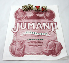 Jumanji Board Game Pieces 4 Rescue Dice Die and Instructions 1995 Milton... - $14.99