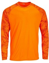 Sun Protection Long Sleeve Dri Fit Safety Neon Orange shirt Camo Sleeve SPF 50+ image 1