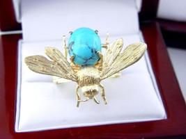 14K Gelbgold Türkis Fliegen Ring Größe 10 - $555.97