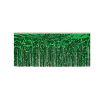 "Beistle Party Decoration 1-Ply FR Metallic Fringe Drape Green 15"" x 10' ... - $45.50"