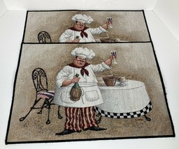 Fat Chef Tuscany Wine & Cheese Tapestry Placemats Checkered Cafe MH Set ... - $16.82