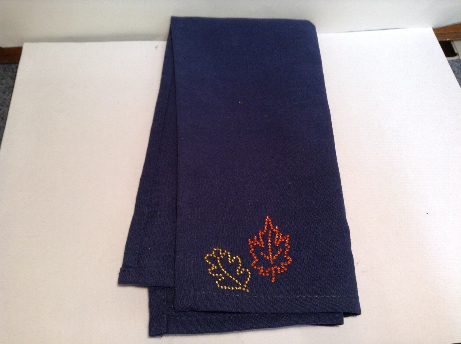 NEW Lyn Dorf Navy Blue Napkin w Studded Autumn Corner Leaves