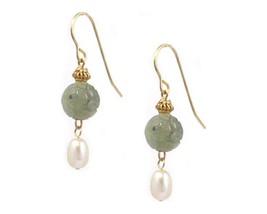 'Carved Dragon' Green Serpentine 'New Jade' Longevity Cultured Pearl Ear... - $23.00