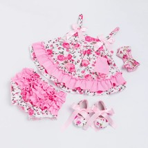 Summer style baby girls ruffle outfit with headband - $17.77