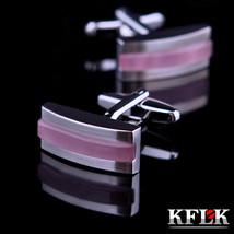 Jewelry Shirt Cufflink Mens Brand Pink Cuff Link Fashion Button Male Hig... - $12.36