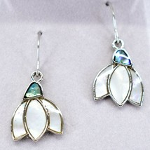 A.T. Storrs Wild Pearle Abalone Snowdrop Flower Hook Earrings image 2