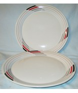Studio Nova K6008 White with Red and Gray Free Style Dinner Plate Pair - $21.67