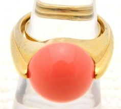 Vtg Crown Trifari Gold Tone Art Deco Style Faux Coral Lucite Ring - $74.25