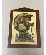Vintage Hummel Wood Plaque Boy Girl Umbrella b3 - $9.49