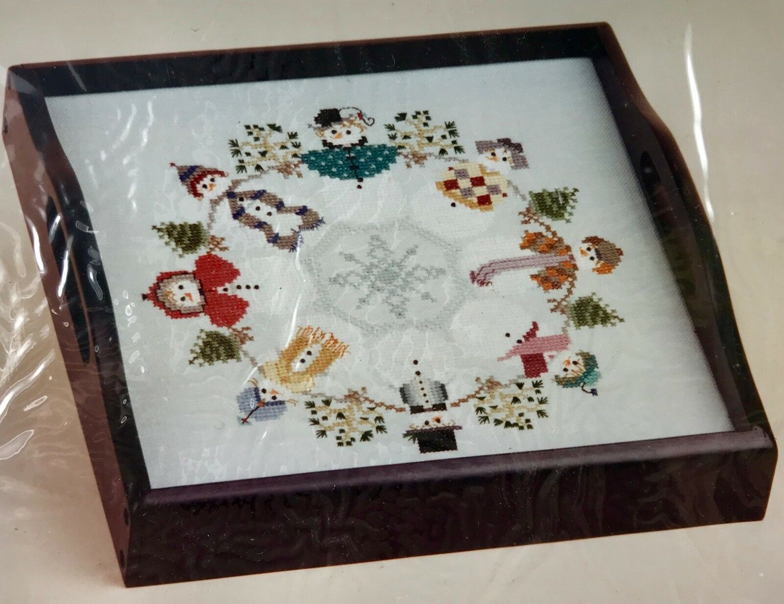 Sudberry Snowman Cross Stitch Square Tray Insert Kit Snow People in Circle New