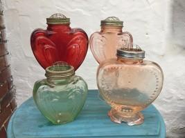 Vintage Heart Shaped Embossed Pressed Glass Vase Metal Flower Frog Lid p... - $13.86+