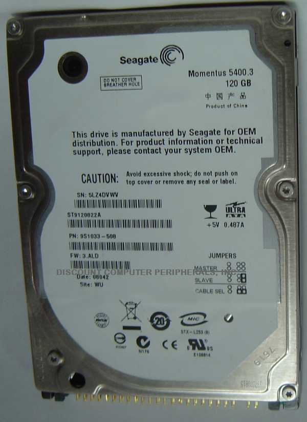 "NEW ST9120822A Seagate 120GB IDE 44PIN 2.5"" 9.5MM Hard Drive Free USA Shipping"