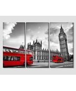 "3 Panel 60""x40"" London Bus Canvas Print Black and White Canvas Art Londo... - $167.00"