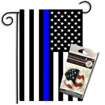 Two Thin Blue Line Black & White American Garden Flag w Absorbent Car Co... - $16.78