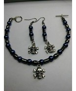 Hematite and blue stones with skull - Leslie Childers - $32.00