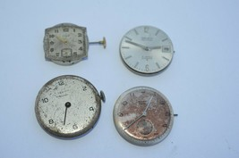 Lot of 4 Vtg Mens watch movements**Gruen Precision Auto**Elgin** Rare NIVREL etc - $32.68