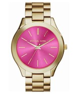 MICHAEL KORS MK3264 WOMEN'S SLIM RUNWAY GOLD TONE PINK DIAL STEEL 42MM WATCH NWT - $93.41