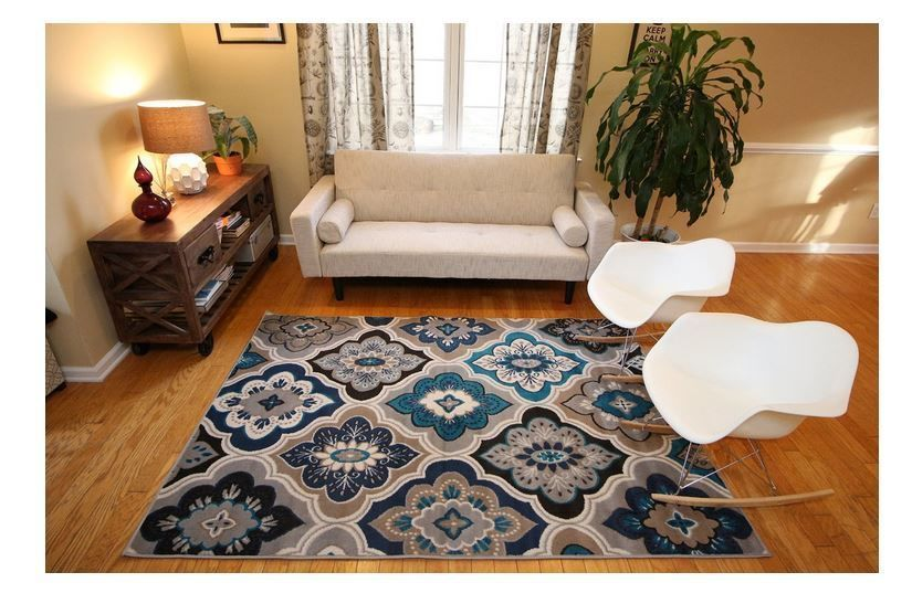 New 5x7 blue beige coral navy grey throw rug navy living - Navy rug living room ...