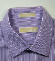 MICHAEL KORS 16.5 x 32/33 Lg Rich Purple White Stripe Dress Shirt - €42,93 EUR