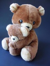 """Vintage Russ Teddy Bear with Baby Plush Stuffed  Brown  sitting 8 1/2"""" tall - $19.55"""