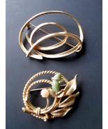 "Vintage 70's Sarah Coventry ""Jade Garden"" Jade & Cultured Pearl Pin & Go... - $12.69"