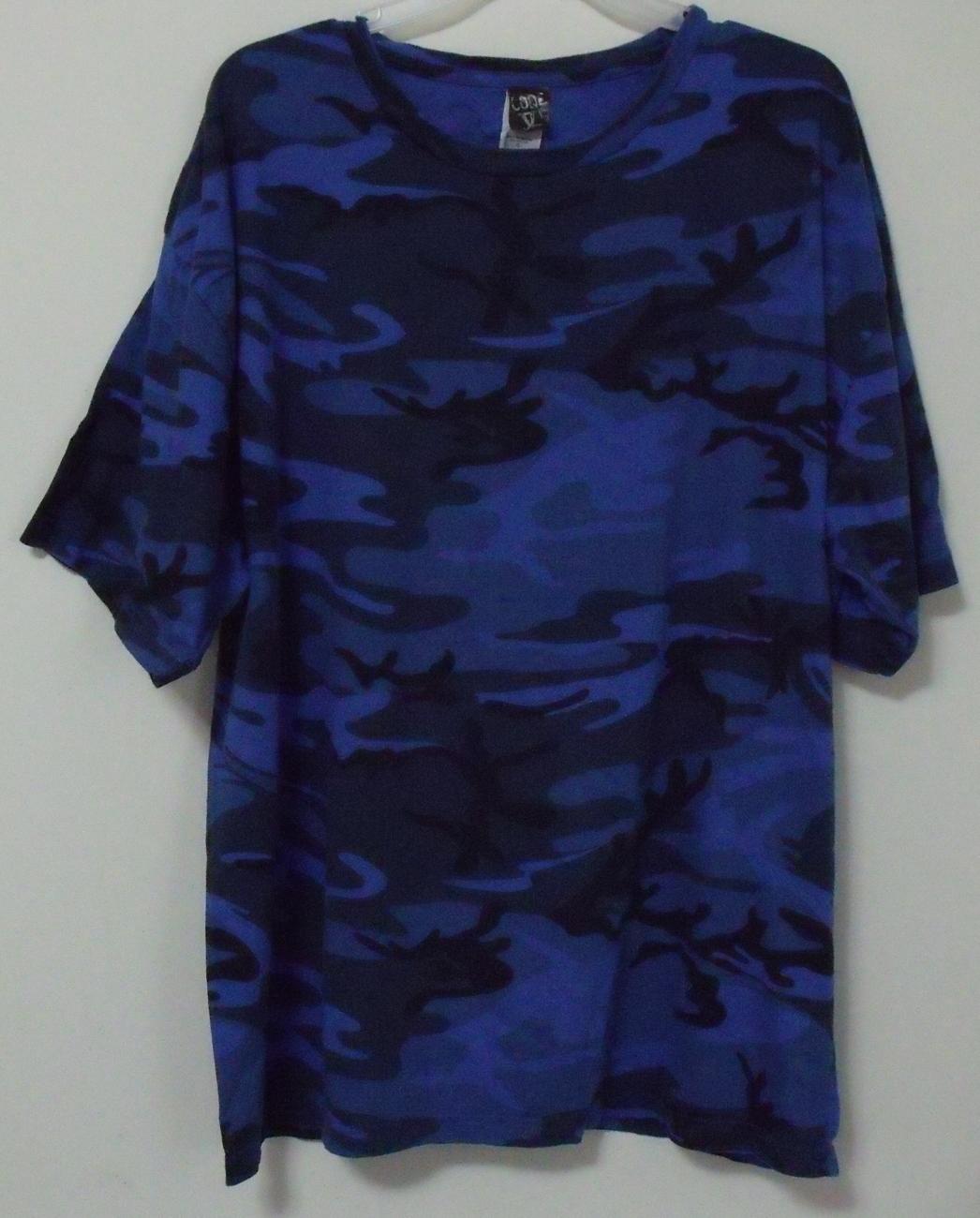 Mens NWOT Code V Blue Black Camouflage T Shirt Size XL Code V