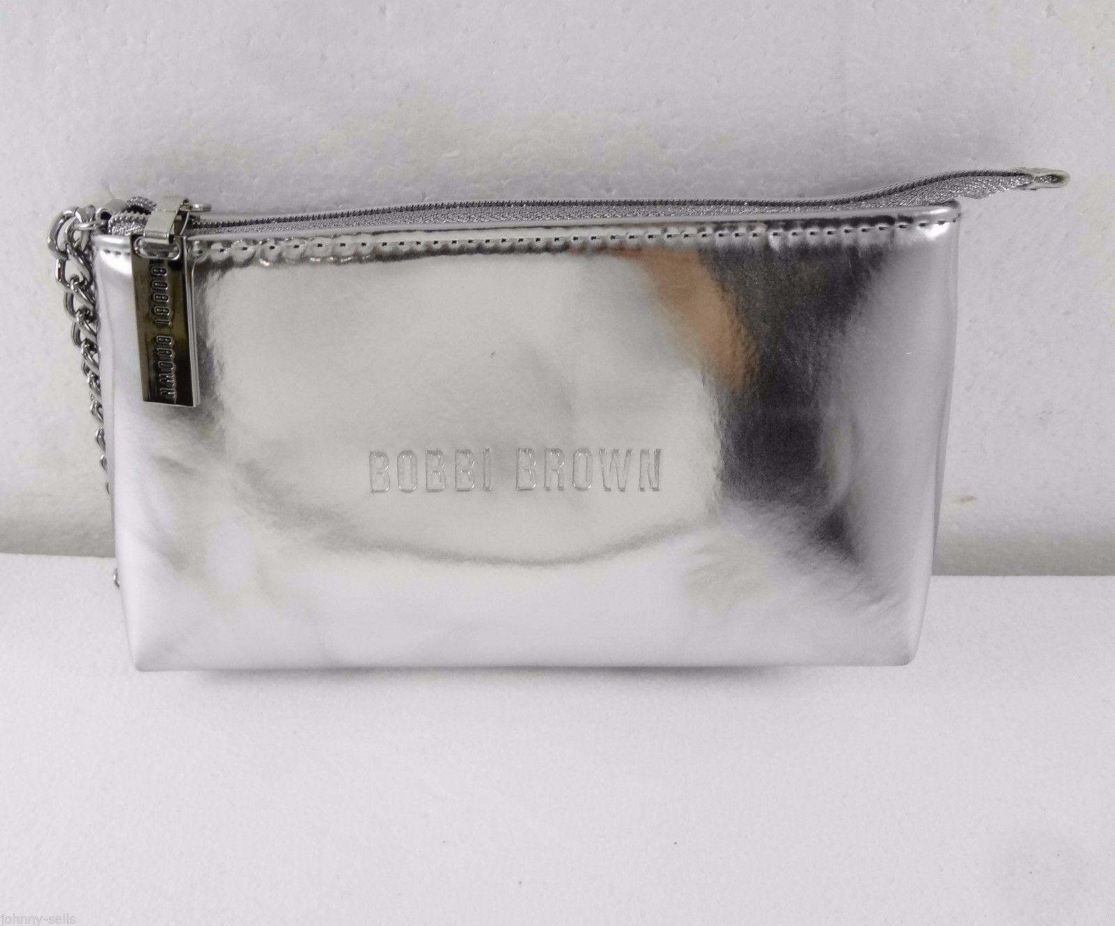 Bobbi Brown Metallic Silver Makeup Bag Cosmetic Case Wristlet Wallet Purse