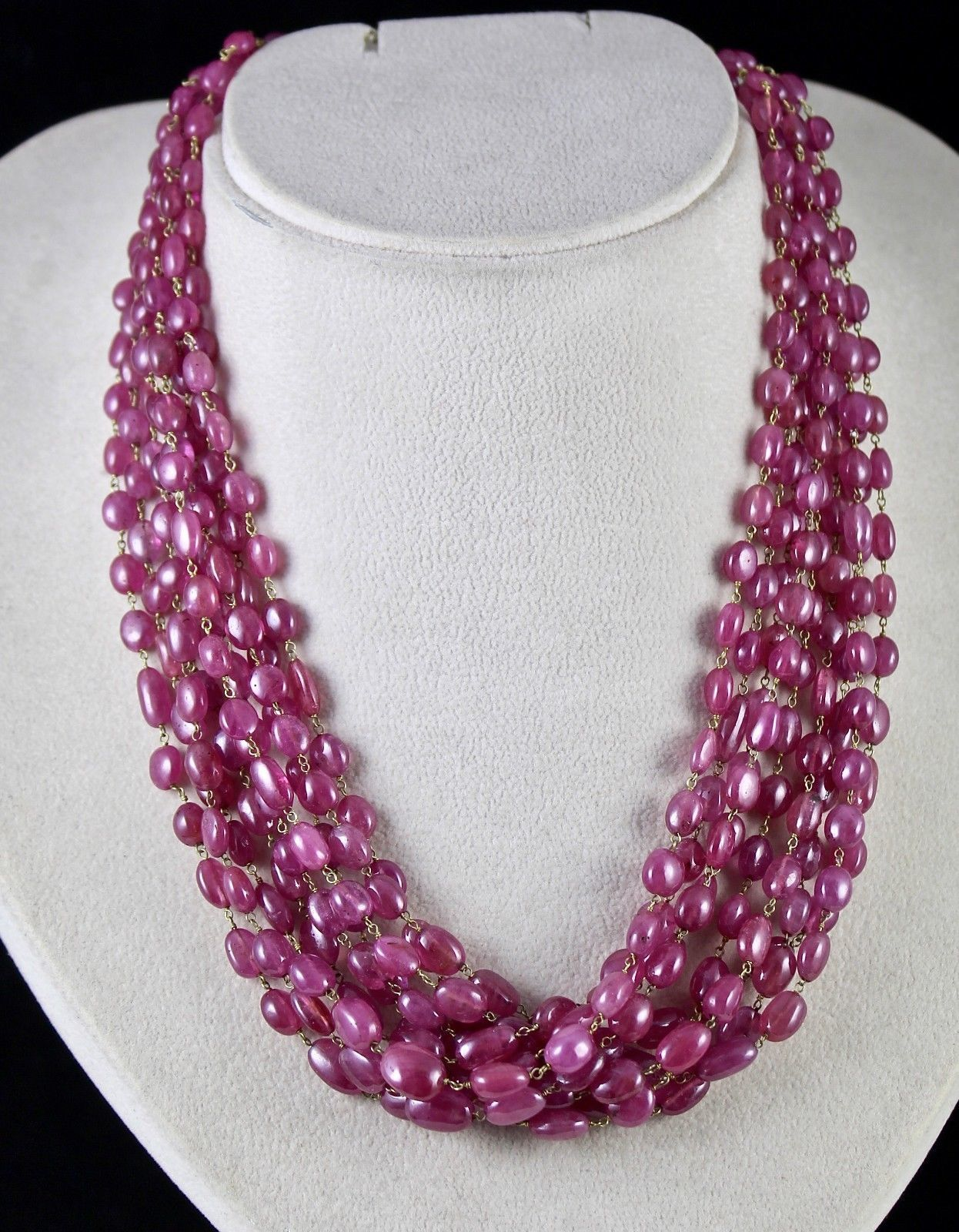 PINK RUBY BEADS CABOCHON 9 LINE 780 CARATS GEMSTONE 18K GOLD LADIES NECKLACE