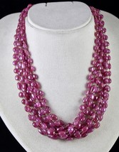 PINK RUBY BEADS CABOCHON 9 LINE 780 CARATS GEMSTONE 18K GOLD LADIES NECKLACE image 1