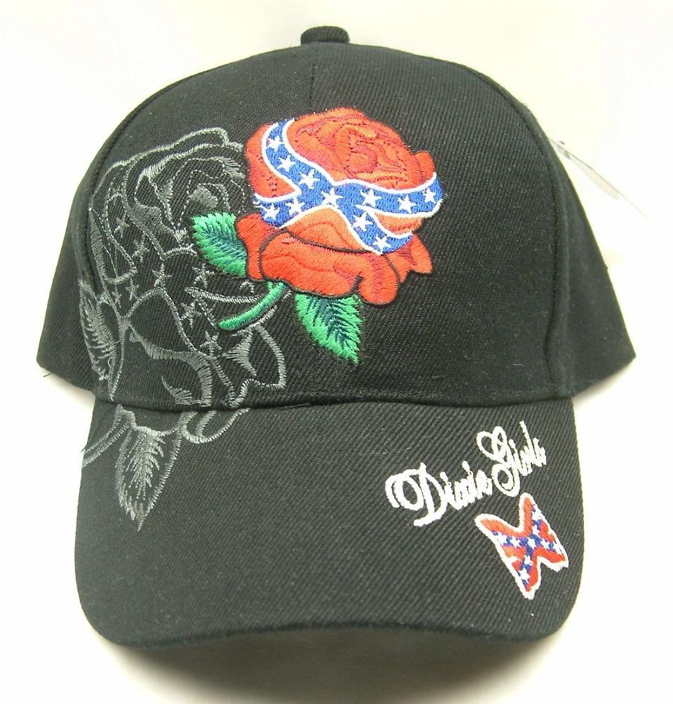 DIXIE GIRL WITH REBEL ROSE BLACK CAP