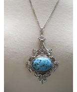 VTG Pendant Necklace Couture Chain Silvertone R... - $34.64