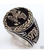 14k Gold Roman Eagle Wreath  Mens Silver Signet... - $296.01