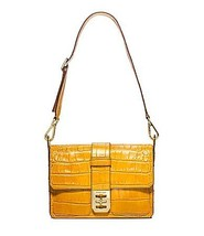 Michael Kors Mila Croco Embossed Large Shoulder Bag Sun - $381.15
