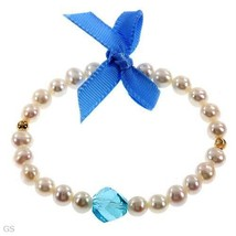 New Baby Boy Blue Ribbon White Pearl Crystal Be... - $15.68