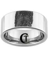 Mens Tungsen Ring 10mm Pipe Fingerprint Design ... - $49.00