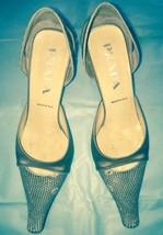EUC Prada Beige Stamped Leather Snakeskin Print Toe w/ Beige Satin Heels SZ 36 - $128.69